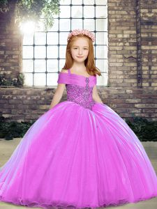 Exquisite Beading Pageant Dress Wholesale Lilac Lace Up Sleeveless Floor Length