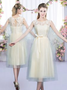 Graceful Champagne Empire Lace and Belt Court Dresses for Sweet 16 Lace Up Tulle Sleeveless Tea Length