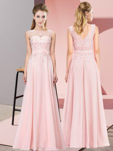 Floor Length Baby Pink Damas Dress Scoop Sleeveless Zipper