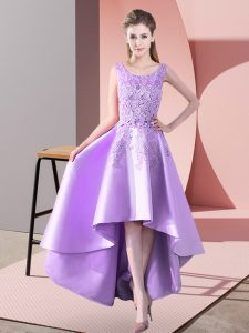 Lavender Satin Zipper Damas Dress Sleeveless High Low Lace