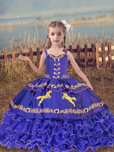 Ball Gowns Little Girl Pageant Gowns Blue Straps Organza Sleeveless Floor Length Lace Up