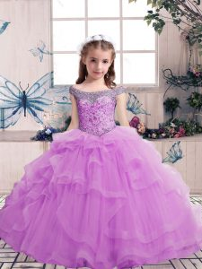 Sleeveless Floor Length Beading Lace Up Kids Pageant Dress with Lilac