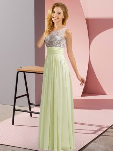 Light Yellow Empire Chiffon Scoop Sleeveless Beading Floor Length Side Zipper Dama Dress