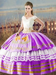 Superior Sleeveless Embroidery and Ruffled Layers Lace Up Sweet 16 Quinceanera Dress