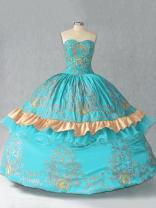 Extravagant Sweetheart Sleeveless Sweet 16 Quinceanera Dress Floor Length Embroidery and Bowknot Aqua Blue Satin and Organza