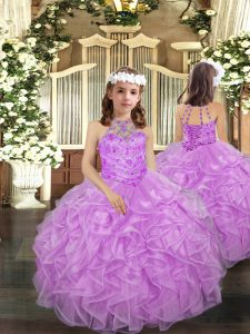 High Class Lilac Lace Up Pageant Dress Womens Beading and Ruffles Sleeveless Floor Length