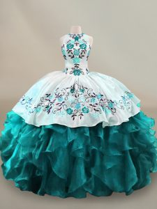 Customized Sleeveless Lace Up Floor Length Embroidery and Ruffles Sweet 16 Dresses