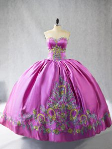 Glamorous Rose Pink Sweetheart Neckline Embroidery Vestidos de Quinceanera Sleeveless Lace Up