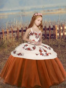 Low Price Sleeveless Organza Floor Length Lace Up Pageant Dress in Rust Red with Embroidery and Ruffled Layers