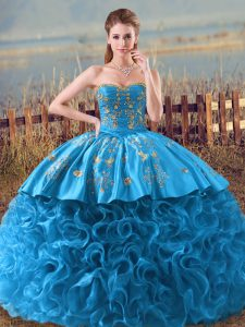 Sleeveless Floor Length Embroidery and Ruffles Lace Up Vestidos de Quinceanera with Baby Blue Brush Train