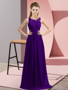 Scoop Sleeveless Quinceanera Court Dresses Floor Length Beading and Appliques Purple Chiffon