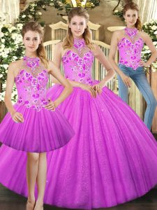 Eye-catching Sleeveless Tulle Floor Length Lace Up Quinceanera Dress in Lilac with Embroidery