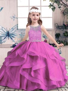 Sleeveless Tulle Floor Length Lace Up Child Pageant Dress in Lilac with Beading