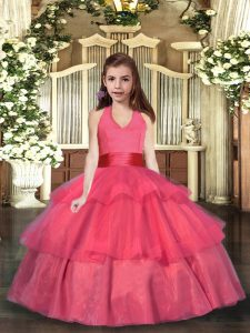 Coral Red Ball Gowns Organza Halter Top Sleeveless Ruffled Layers Floor Length Lace Up Pageant Dress Wholesale