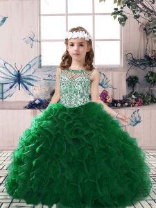 Gorgeous Dark Green Ball Gowns Beading and Ruffles Pageant Dress Lace Up Organza Sleeveless Floor Length