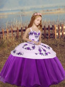 Eggplant Purple Ball Gowns Straps Sleeveless Organza Floor Length Lace Up Embroidery Little Girls Pageant Dress