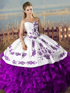 Edgy White And Purple Lace Up Sweetheart Embroidery and Ruffles Quinceanera Gown Organza Sleeveless