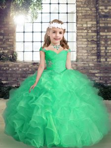 Popular Straps Sleeveless Organza Little Girls Pageant Dress Wholesale Beading and Ruffles and Ruching Lace Up