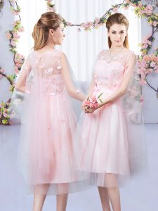 Custom Fit Baby Pink Empire V-neck Sleeveless Tulle Tea Length Lace Up Appliques and Belt Quinceanera Dama Dress
