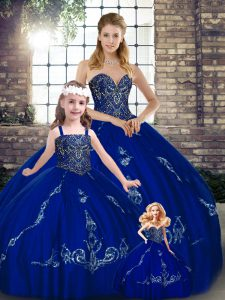 Noble Sweetheart Sleeveless Lace Up Quinceanera Gowns Royal Blue Tulle