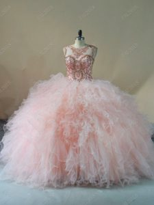 New Style Sleeveless Tulle Brush Train Lace Up 15th Birthday Dress in Peach with Beading and Ruffles