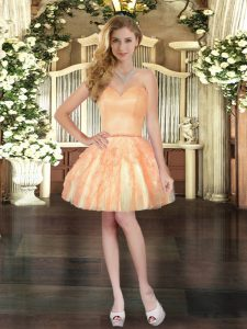 Hot Sale Sleeveless Tulle Mini Length Lace Up Prom Dress in Orange with Ruffles