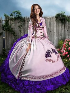 Pretty White And Purple Satin Lace Up Sweetheart Sleeveless Floor Length Ball Gown Prom Dress Embroidery and Ruffles