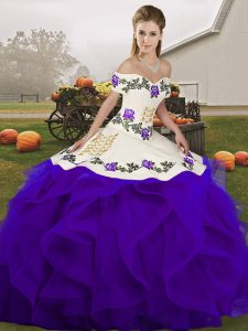 Admirable Embroidery and Ruffles Sweet 16 Dress White And Purple Lace Up Sleeveless Floor Length