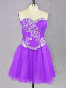 Sleeveless Tulle Mini Length Lace Up Prom Party Dress in Lilac with Beading