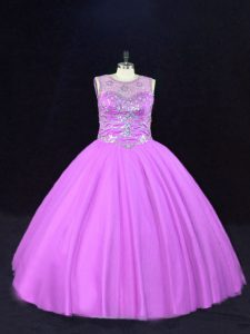 Scoop Sleeveless Ball Gown Prom Dress Floor Length Beading Lilac Tulle