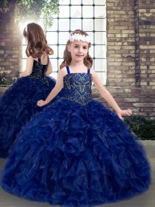 Floor Length Ball Gowns Sleeveless Blue Little Girls Pageant Gowns Lace Up