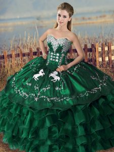 Green Ball Gowns Sweetheart Sleeveless Organza Floor Length Lace Up Embroidery and Ruffles Quince Ball Gowns