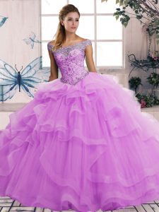 Free and Easy Tulle Off The Shoulder Sleeveless Lace Up Beading and Ruffles Ball Gown Prom Dress in Lilac
