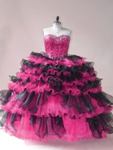 Shining Sleeveless Organza Lace Up Ball Gown Prom Dress in Pink And Black with Beading and Ruffled Layers