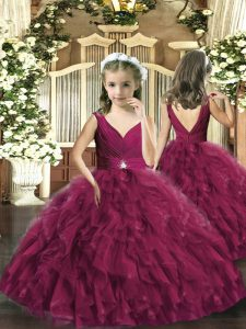 Fashion Sleeveless Floor Length Beading and Ruffles Backless Little Girl Pageant Dress with Burgundy