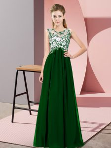 High Quality Dark Green Sleeveless Chiffon Zipper Dama Dress for Quinceanera for Wedding Party