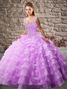 Lilac Lace Up Quinceanera Gowns Beading and Ruffled Layers Sleeveless Floor Length