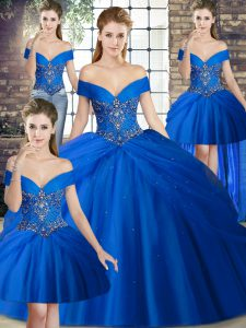 Royal Blue Sleeveless Tulle Brush Train Lace Up Sweet 16 Dress for Military Ball and Sweet 16 and Quinceanera