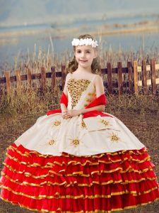 Red Ball Gowns Straps Sleeveless Organza Floor Length Lace Up Beading and Embroidery and Ruffled Layers Little Girl Pageant Gowns