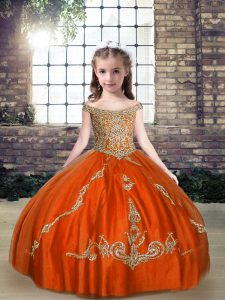 Sleeveless Beading Lace Up Kids Formal Wear
