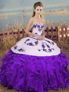 Cute Sweetheart Sleeveless Quinceanera Dresses Floor Length Embroidery and Ruffles and Bowknot White And Purple Organza