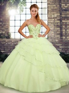 Beautiful Yellow Lace Up Vestidos de Quinceanera Beading and Ruffled Layers Sleeveless Brush Train