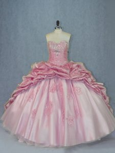 Pink Ball Gowns Beading and Appliques and Pick Ups Quinceanera Gowns Lace Up Tulle Sleeveless