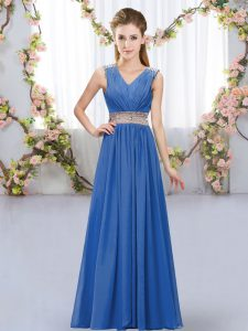 High Class Sleeveless Floor Length Beading and Belt Lace Up Court Dresses for Sweet 16 with Blue
