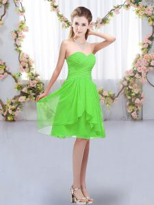 Customized Lace Up Sweetheart Ruffles and Ruching Quinceanera Court Dresses Chiffon Sleeveless