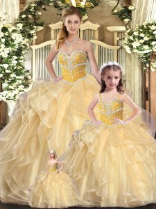 Ball Gowns 15th Birthday Dress Champagne Sweetheart Organza Sleeveless Floor Length Lace Up