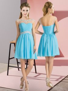 Cap Sleeves Mini Length Beading Lace Up Quinceanera Court Dresses with Aqua Blue