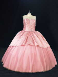 Ball Gowns Quinceanera Dress Pink Scoop Tulle Sleeveless Floor Length Lace Up