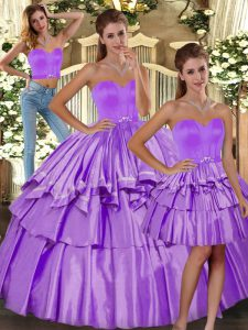 Sleeveless Floor Length Ruffled Layers Backless Quinceanera Gown with Lilac