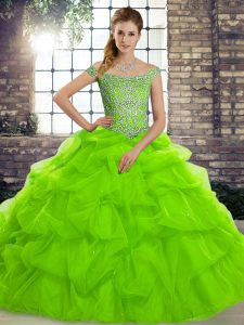Fitting Ball Gowns Off The Shoulder Sleeveless Tulle Brush Train Lace Up Beading and Pick Ups Vestidos de Quinceanera